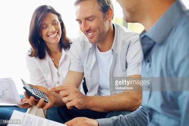 Mature couple discussing financial matter
