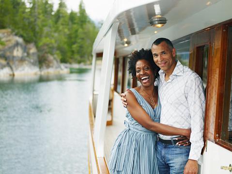 Mature couple embracing on yacht, portrait - gettyimageskorea