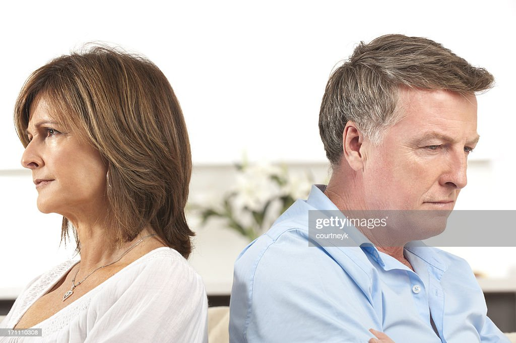 Mature couple fighting : Stock Photo