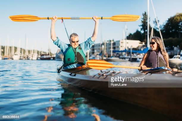 Mature Couple Has Fun Kayaking