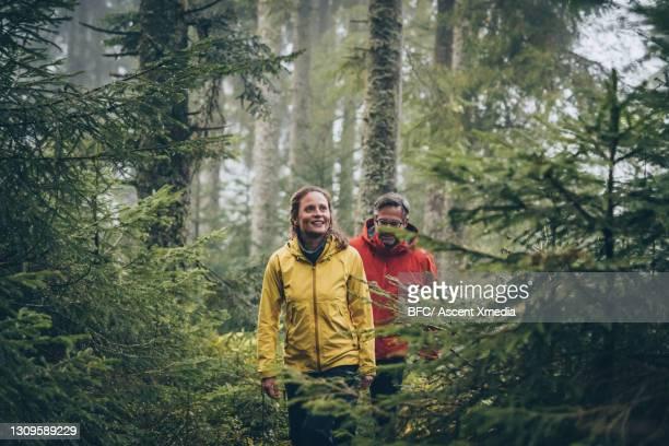mature couple hike through forest on a rainy day - dreiviertelansicht stock-fotos und bilder