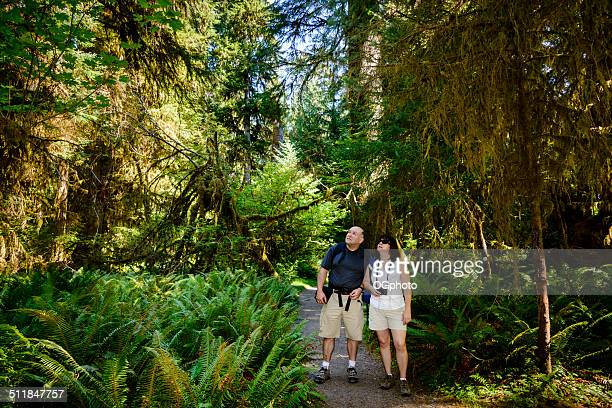 mature couple hiking in the woods -xxxl - ogphoto stock pictures, royalty-free photos & images