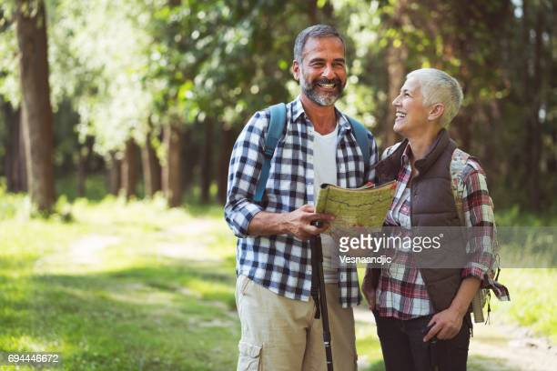 Mature couple hiking