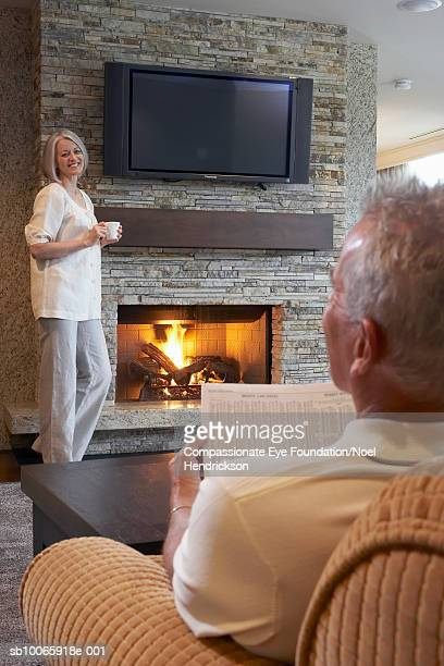 Mature couple in living room