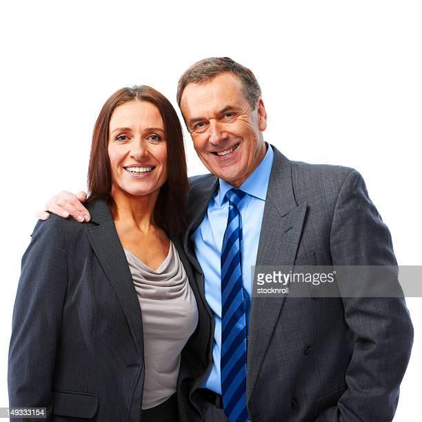 couple d'âge mûr isolé sur fond blanc