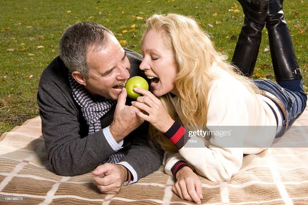 Mature couple sharing