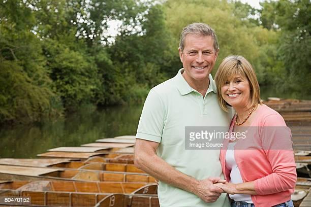 Mature couple near a boating lake