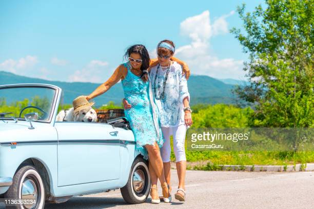 mature couple on a road trip with a vintage car and maremma sheepdog - pastore maremmano foto e immagini stock