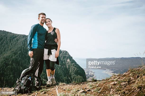 mature couple on mountain top - columbia river gorge stock pictures, royalty-free photos & images