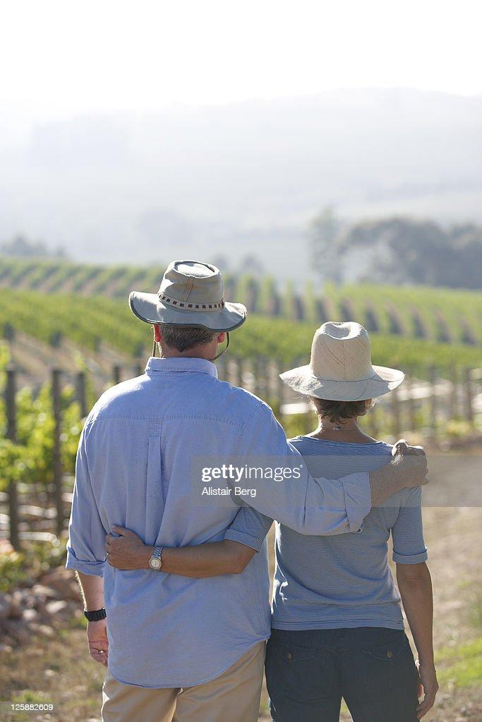 Mature couple on wine farm : Stock-Foto
