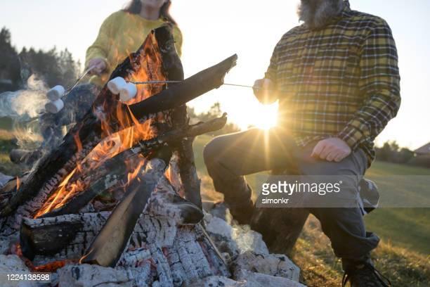 rijp paar dat marshmallows over kampvuur roostert - middelste deel stockfoto's en -beelden