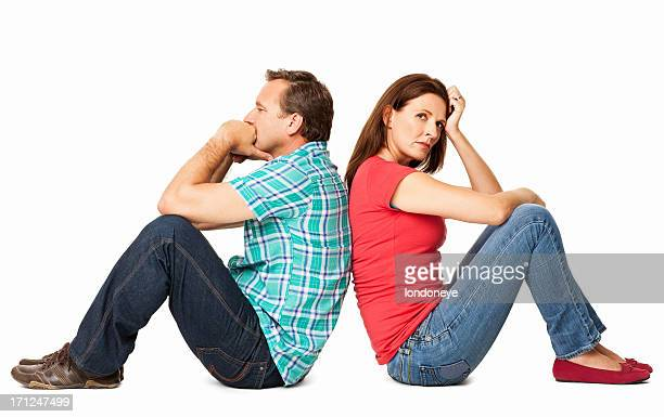 Mature Couple Sitting Together - Isolated