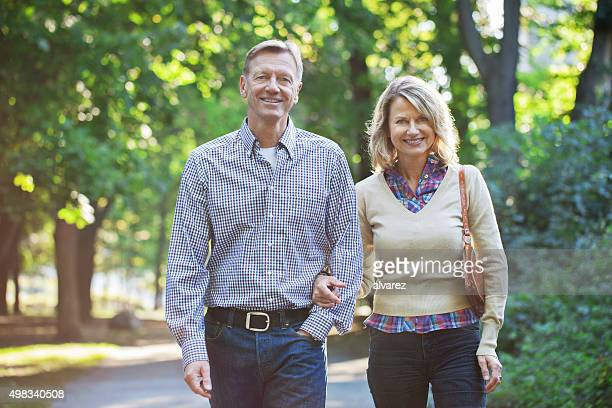 Mature couple taking a walk in the park