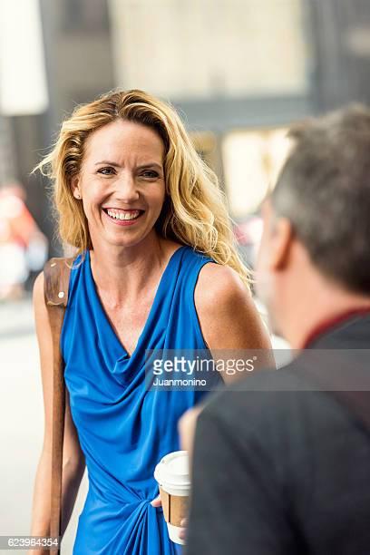 Mature couple talking smiling