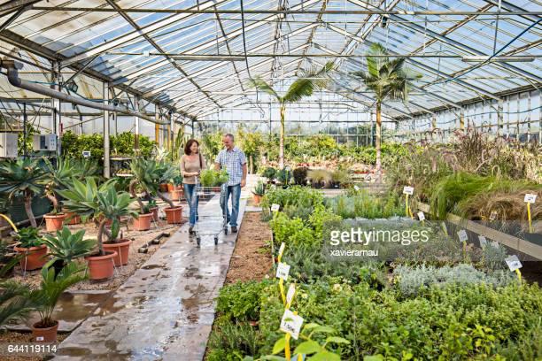 Mature couple walking on aisle in plant nursery