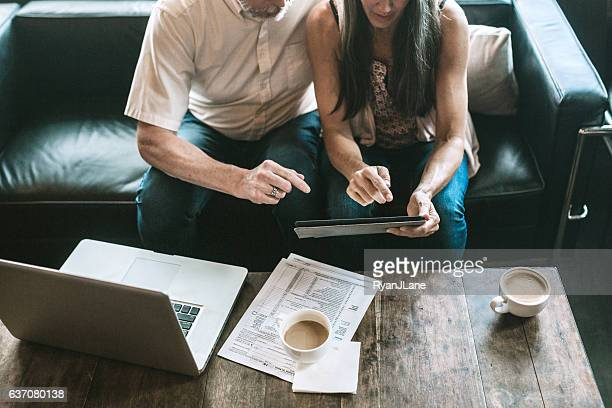 Mature Couple Working on Taxes