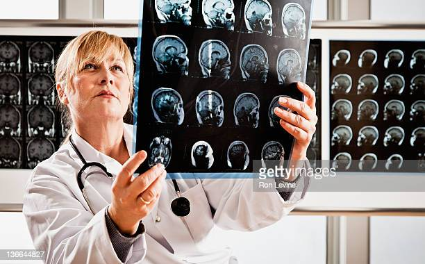 Mature doctor examines mri in radiology clinic