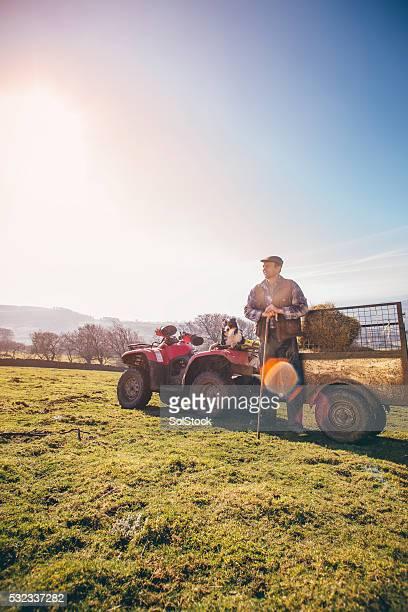 Mature Farmer and His Sheepdog