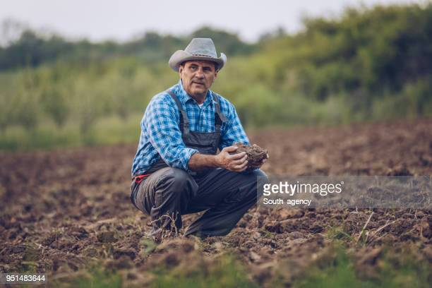Mature farmer on his land