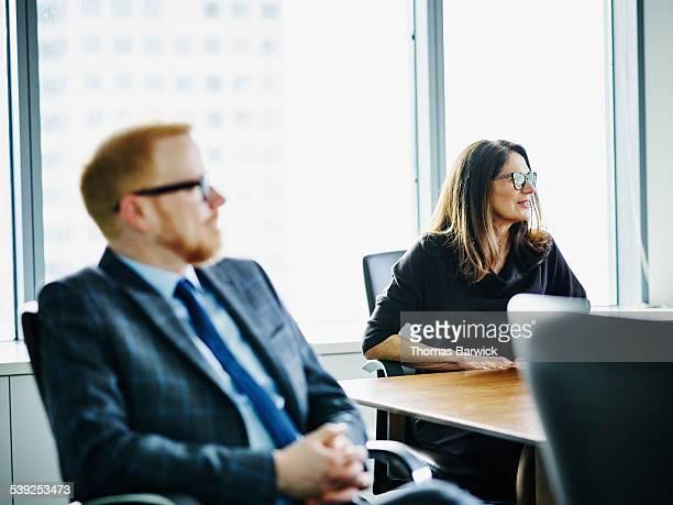 Mature female business executive leading meeting