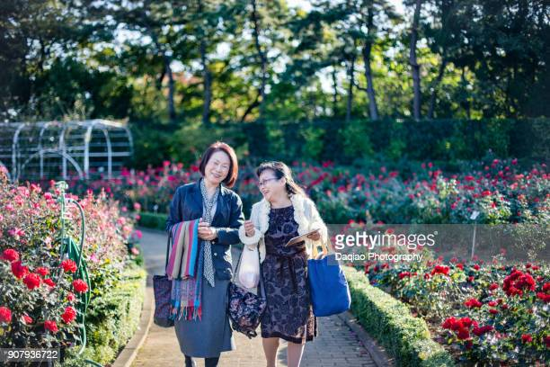mature female friends walking on path of  garden