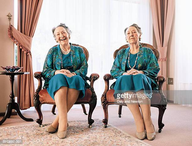mature female twins, portrait (digital composite) - identical twin stock pictures, royalty-free photos & images