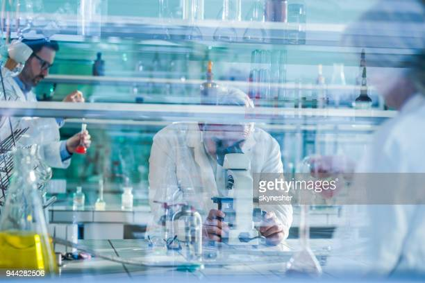 mature forensic scientist using microscope while working with his colleagues in laboratory. - biochemistry stock pictures, royalty-free photos & images