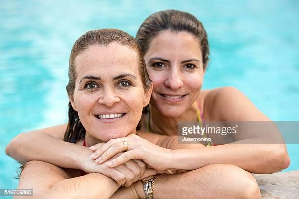 Mature Hispanic women in the swimming pool