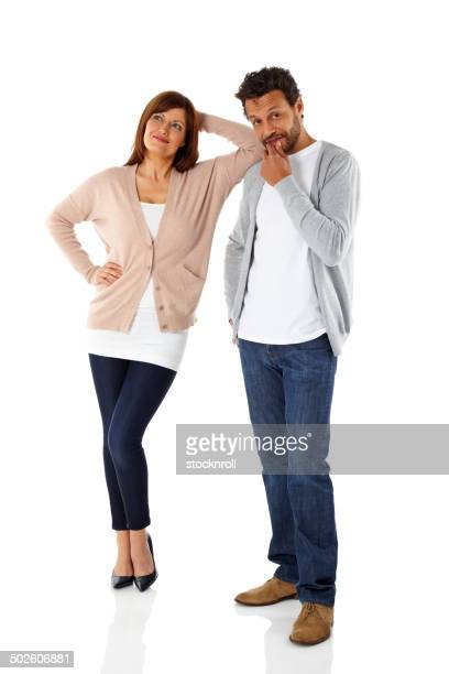 mature interracial couple thinking about something - contemplation couple stock pictures, royalty-free photos & images