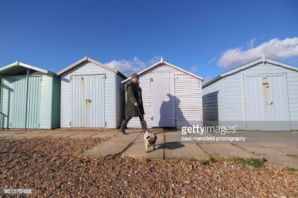 Mature lady walking dog