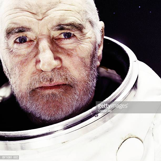 Mature male astronaut, portrait, close-up