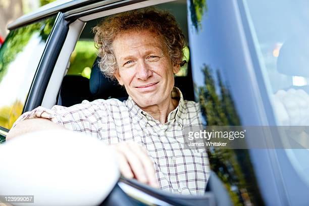 Mature male in car