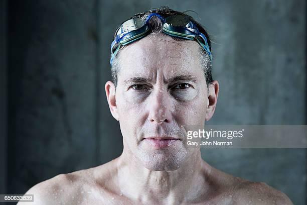 Mature male swimmer, portrait