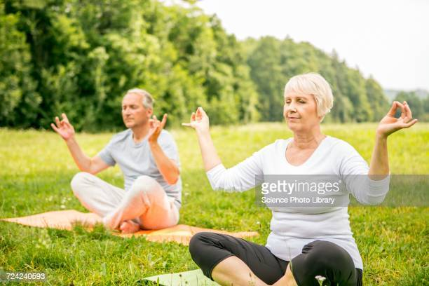 Mature man and senior woman doing yoga in field