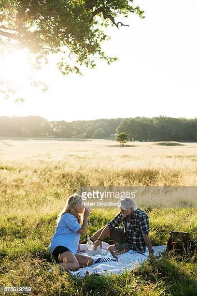 Mature Man and Woman having picnic