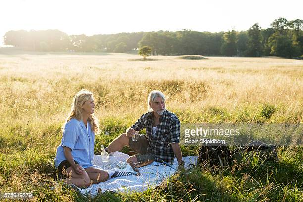 mature man and woman having picnic - picknick stock-fotos und bilder