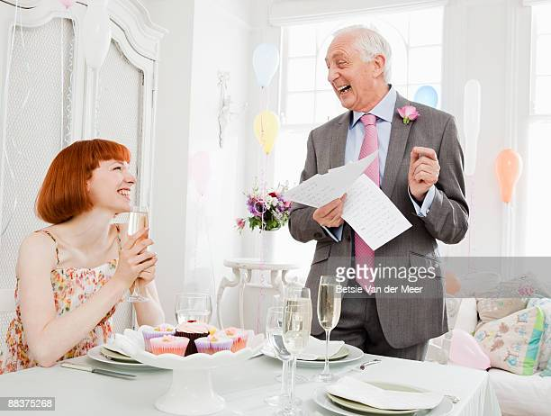 mature man giving speech at weddingparty. - speech stock pictures, royalty-free photos & images