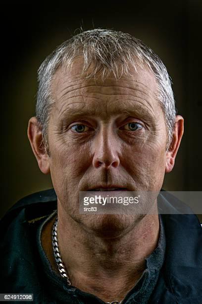 Mature man gritty portrait close-up