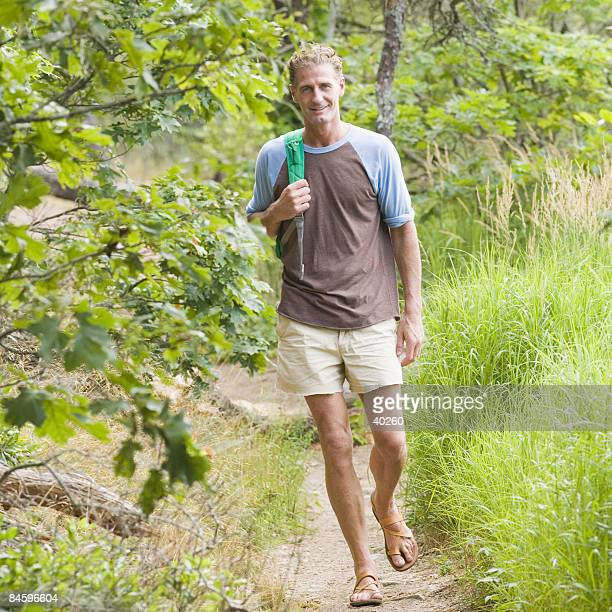 Mature man hiking in a forest