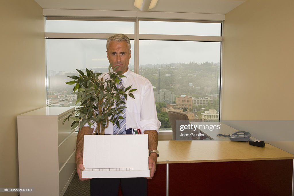 Mature man holding box and pot plant, portrait : Foto stock