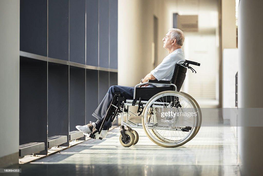 Mature Man in Wheelchair : Stock Photo