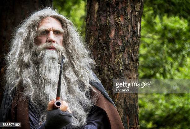 mature man in wizard costume surrounded by woodland