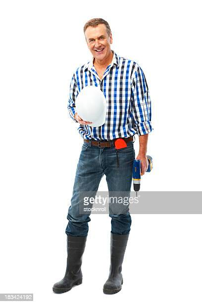 Mature man isolated on white background with drill