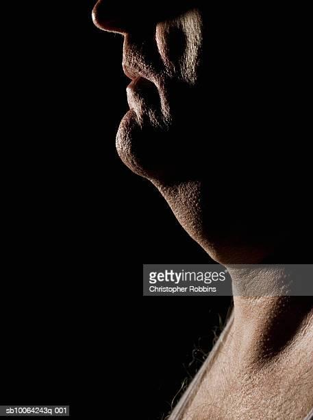 Mature man, profile, close-up of neck