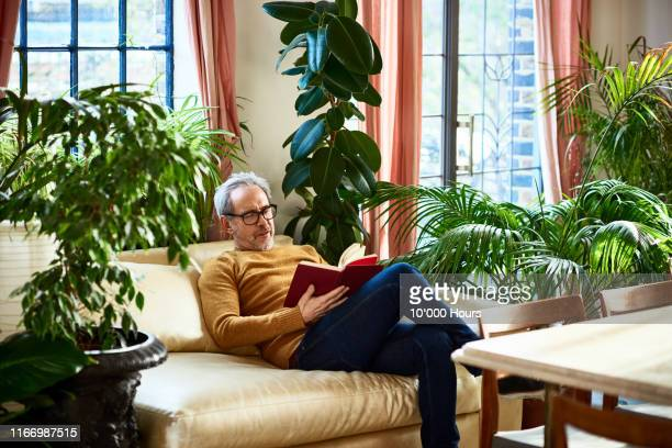 mature man relaxing at home and reading book - reading stock pictures, royalty-free photos & images