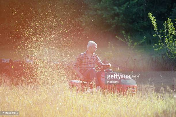 mature man riding lawn mower in garden - lawn mower stock pictures, royalty-free photos & images