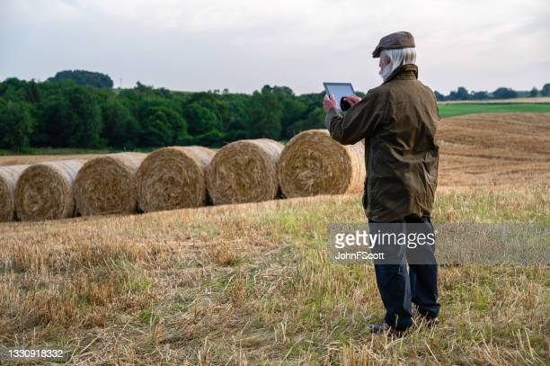 mature man using digital tablet in a field at dusk - johnfscott stock pictures, royalty-free photos & images