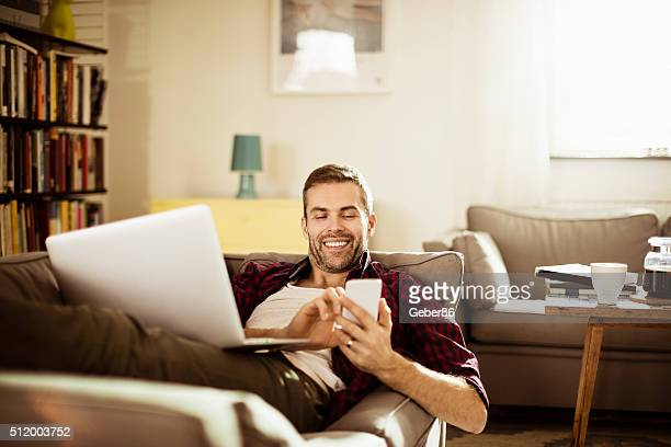 Mature man using smart phone