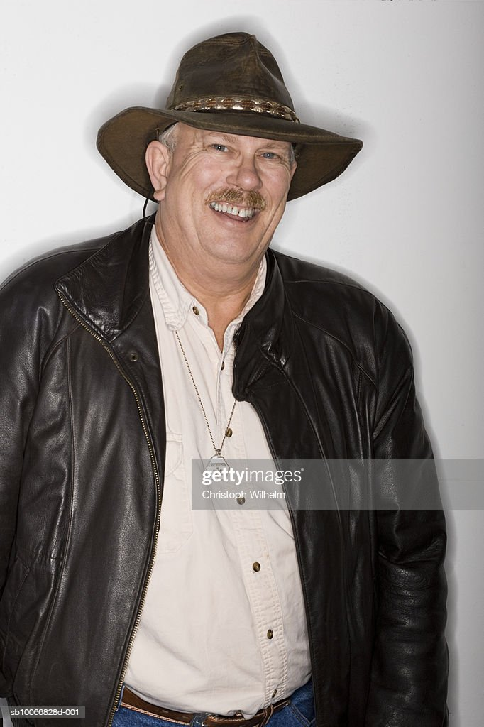 Mature in leather hat