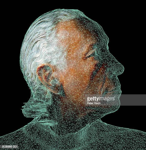 Mature man, wire frame over face (Digital Composite)
